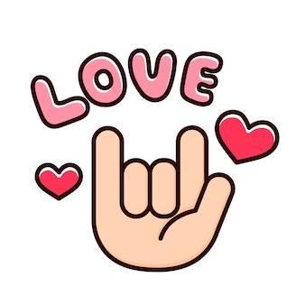 Aimer les doigts avec des coeurs.