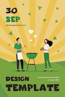 Aimer l'homme et la femme faisant un barbecue dans la cour. aimez, reposez-vous. modèle de flyer plat