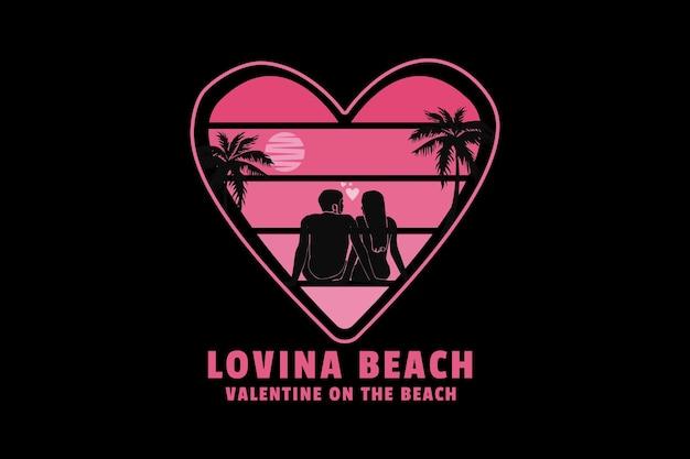 Aimer la plage valentine sur la plage, style sleety design