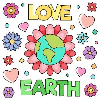 Aimer la terre. illustration vectorielle