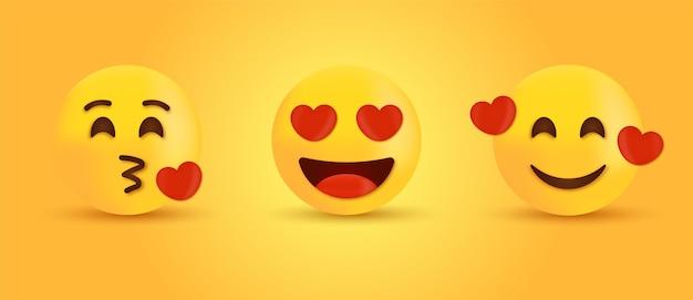 Aimer Les Yeux Et Embrasser Des Emoji Ou Des émoticônes Souriantes Avec Des Coeurs Vecteur Premium
