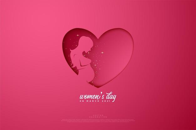 Aimez la journée de la femme heureuse avec des illustrations en papier découpé.