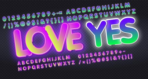 Aimez oui, alphabet anglais et collection de signes de néon de nombres. enseigne au néon, publicité lumineuse de nuit, enseigne colorée, bannière lumineuse.