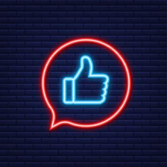 Aimez, recommandez, commentez. publication sur les réseaux sociaux. icône néon. les médias sociaux aiment. graphiques animés.