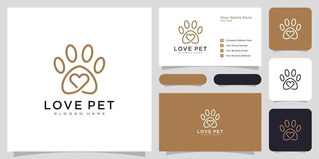Aimez le style de ligne du logo pour animaux de compagnie et la carte de visite