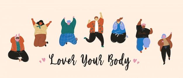 Aimez votre corps des gens heureux sautant design plat