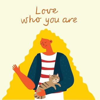 Aimez-vous, aimez qui vous êtes, fond de femme. carte de concept de style de vie de vecteur avec texte, n'oubliez pas de vous aimer dans le style plat