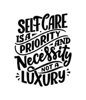 Aimez-vous lettrage slogan. texte de calligraphie moderne sur les soins personnels.