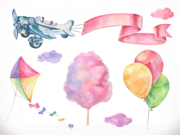 Air aquarelle. cerf-volant, avion, barbe à papa et nuages, ballons. ensemble