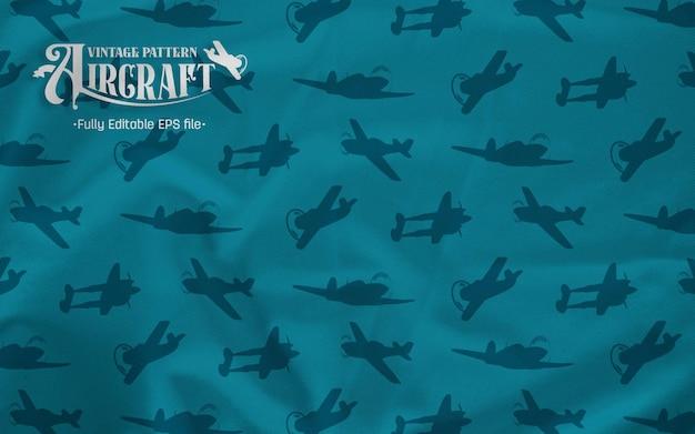 Air craft fighter vintage siluet fond bleu