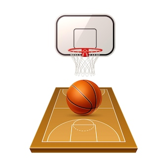 Aire de compétition de basket réaliste avec terrain de jeu de balle et bouclier avec filet de panier