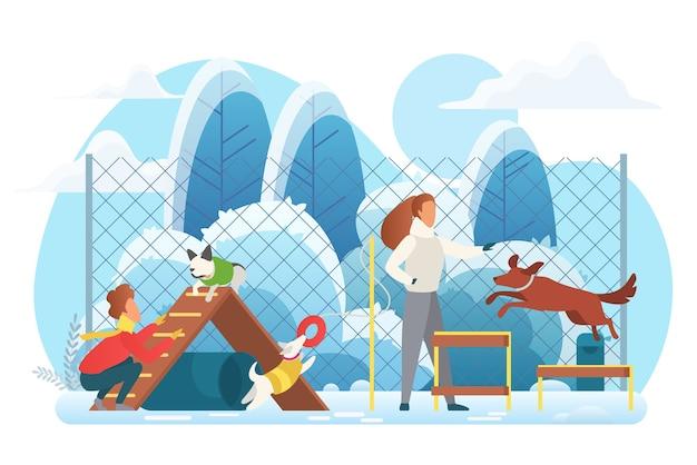 Aire de jeux pour chiens dans le parc d'hiver