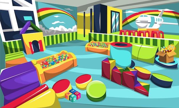 Aire de jeux pour enfants avec arène de balle, jouets d'avion et arc en ciel