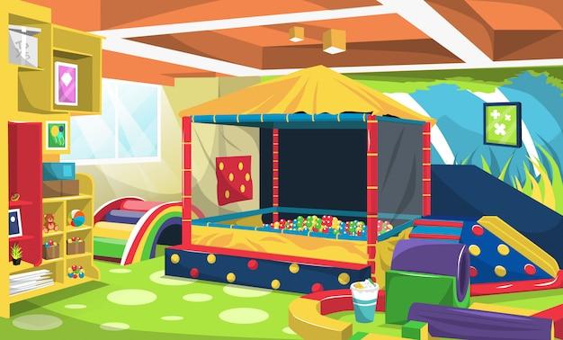 Aire de jeux pour enfants avec balles et escaliers arc-en-ciel