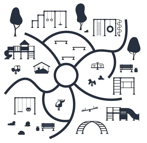 Aire de jeux pour enfants. ensemble d'icônes noires d'éléments d'équipement de jeu. concept de parc de la ville. illustration vectorielle