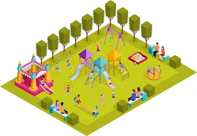 Aire de jeux pour enfants isométrique