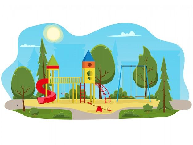 Aire de jeux pour enfants avec toboggans et tube dans le parc.