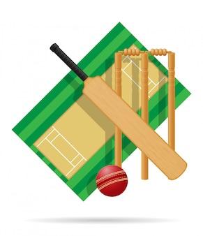 Aire de jeux pour l'illustration vectorielle de cricket