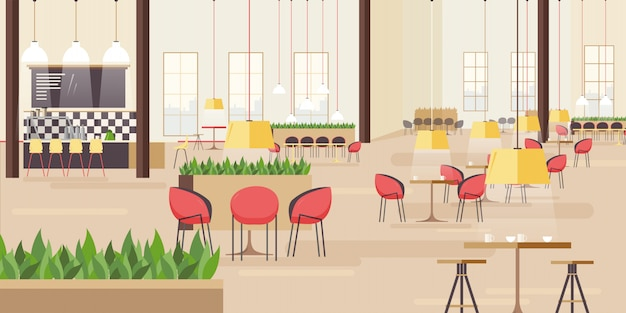 Aire de restauration au centre commercial. illustration horizontale avec de nombreux sièges. illustration plate.