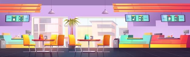 Aire de restauration avec café et cantine de restaurants
