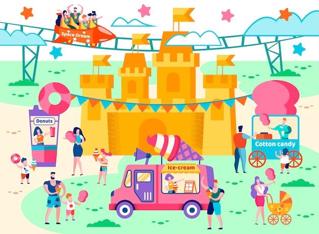 Aire de restauration dans un dessin animé plat de parc d'attractions.