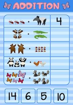 Ajout de feuille de calcul avec des animaux sauvages