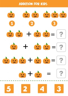 Ajout pour les enfants avec des citrouilles d'halloween effrayantes.