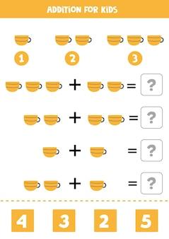 Ajout avec tasse à thé de cuisine. jeu de mathématiques éducatif pour les enfants.