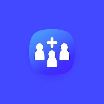 Ajouter au groupe, icône d'équipe pour le web