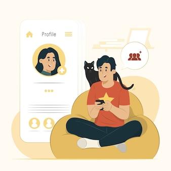 Ajouter l'illustration de l'interface de profil de vue concept ami