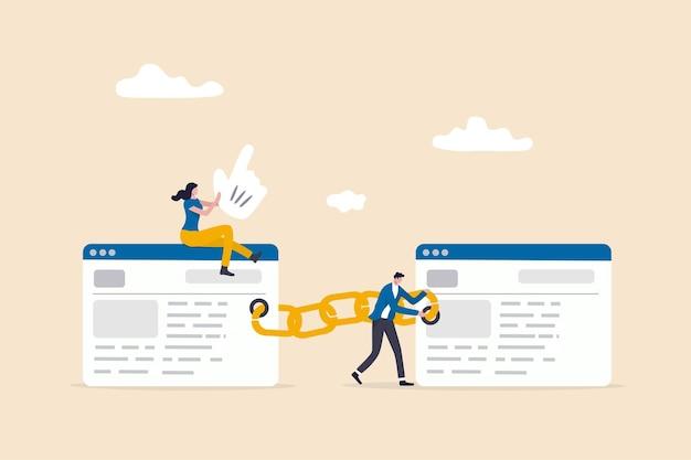 Ajouter un lien de retour au site web pour augmenter le score de qualité dans le référencement, le concept d'optimisation des moteurs de recherche, l'équipe numérique de personnes attachent un lien de chaîne au navigateur de sites web pour l'optimisation du référencement.