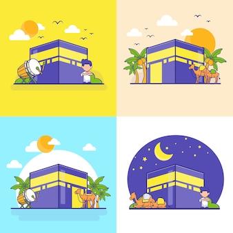 Al eid - adh, al eid-fitr et illustration de dessin animé du nouvel an islamique. jeu d'icônes islamique. dessin animé plat