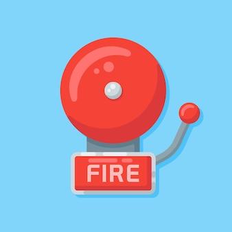 Alarme incendie dans un style plat.