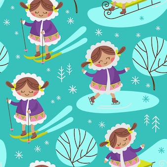 Alaska girl eskimo winter child character comic. modèle sans couture dessiné main dessin animé