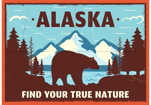 Alaska poster mountain adventure patch