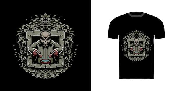 Alchimiste de crâne de conception de tshirt avec l'ornement de gravure