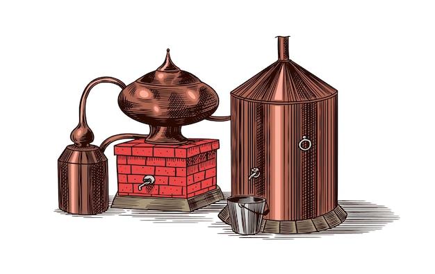 Alcool distillé. croquis vintage dessiné main gravé.
