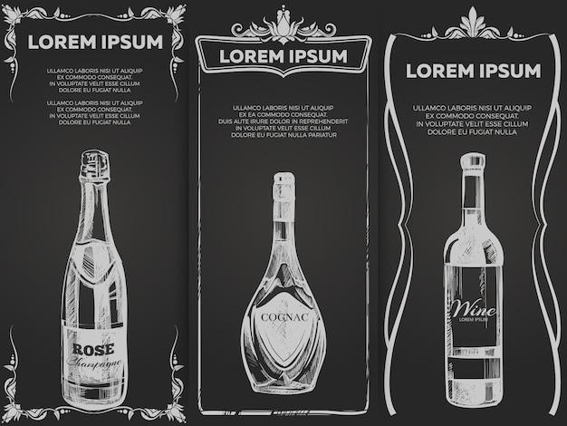 Alcool d'élite dessinés à la main boit le modèle de bannières
