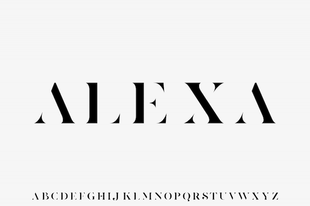 Alexa, la police de vecteur d'affichage alphabet de luxe et élégant