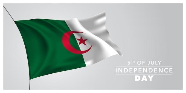 Algérie joyeux jour de l'indépendance carte de voeux bannière horizontale illustration vectorielle