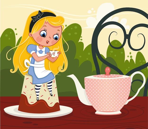 Alice dans l'illustration vectorielle de tea party