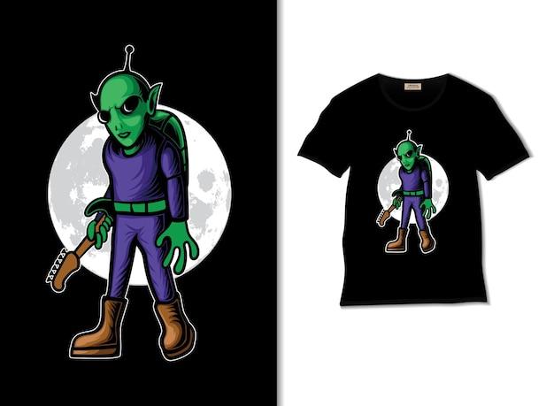 Alien apporte une illustration de guitare avec un design de tshirt