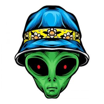 Alien avec un chapeau de seau