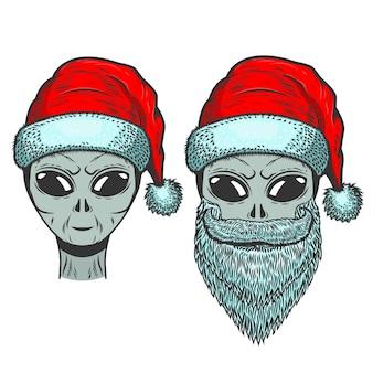 Alien dans les chapeaux du père noël