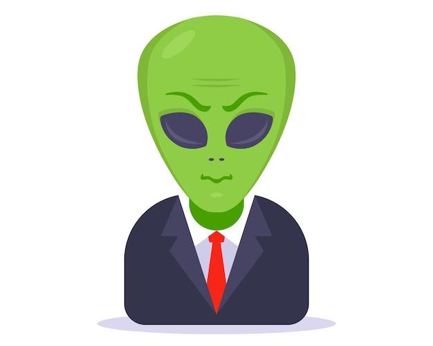 Alien dans un costume d'affaires sur un fond blanc. illustration vectorielle de caractère plat.