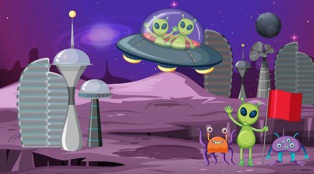 Alien dans la scène spatiale