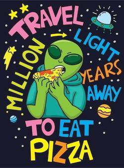 Alien dessiné à la main pour t-shirt