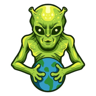Alien détiennent une conception d'illustration vectorielle de la terre