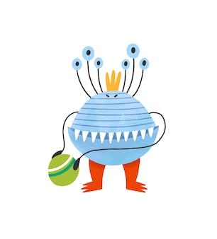 Alien effrayant drôle ou boule de maintien extraterrestre. charmante créature, monstre ou mutant aux nombreux yeux. personnage de dessin animé de conte de fées isolé sur fond blanc. illustration vectorielle plat enfantin.