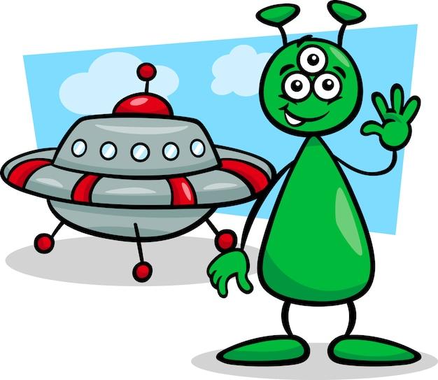 Alien avec illustration de dessin animé d'ufo